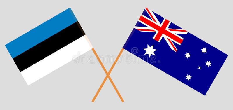 Australien och Estland De australiska och estländska flaggorna Officiella f?rger Korrigera proportionen vektor royaltyfri illustrationer