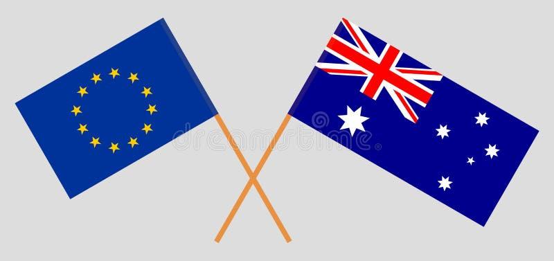 Australien och EU De australiska och europeiska flaggorna Officiella f?rger Korrigera proportionen vektor royaltyfri illustrationer