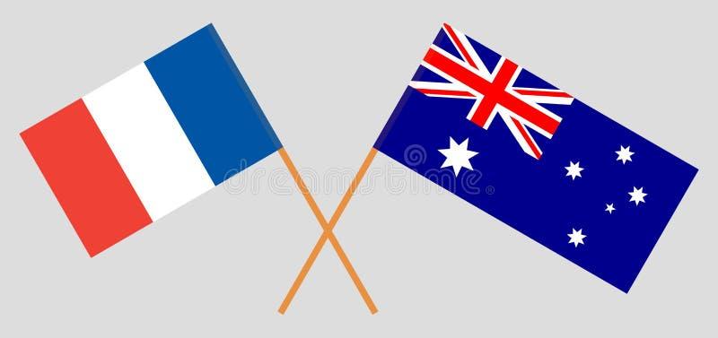 Australien och Frankrike De australiska och franska flaggorna Officiella f?rger Korrigera proportionen vektor vektor illustrationer