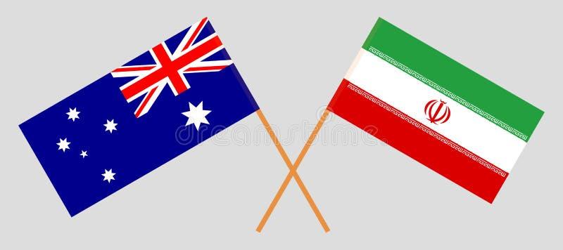 Australien och Iran De australiska och iranska flaggorna Officiella f?rger Korrigera proportionen vektor royaltyfri illustrationer