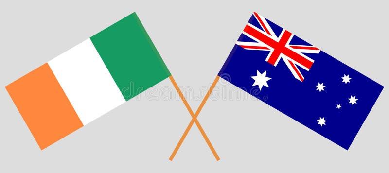 Australien och Irland De australiska och irländska flaggorna Officiella f?rger Korrigera proportionen vektor vektor illustrationer