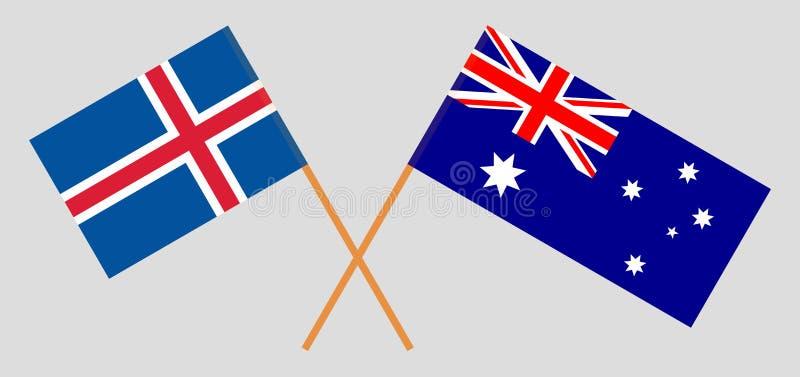 Australien och Island De australiska och isländska flaggorna Officiella f?rger Korrigera proportionen vektor vektor illustrationer