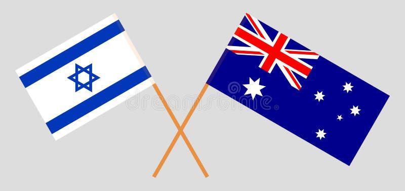Australien och Israel De australiska och israeliska flaggorna Officiella f?rger Korrigera proportionen vektor vektor illustrationer