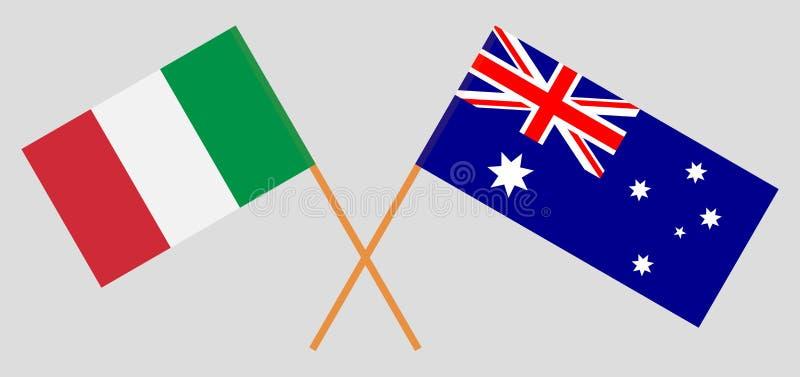 Australien och Italien De australiska och italienska flaggorna Officiella f?rger Korrigera proportionen vektor royaltyfri illustrationer