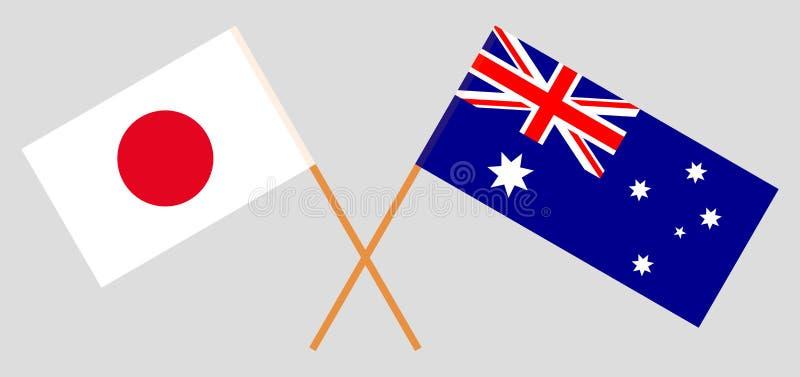 Australien och Japan De australiska och japanska flaggorna Officiella f?rger Korrigera proportionen vektor stock illustrationer