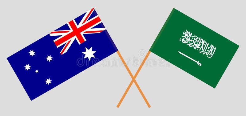 Australien och kungarike av Saudiarabien Australiern och KSA-flaggor Officiella f?rger Korrigera proportionen vektor stock illustrationer