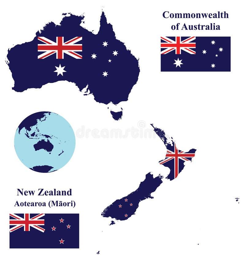 Australien och nyazeeländsk översiktsflagga stock illustrationer