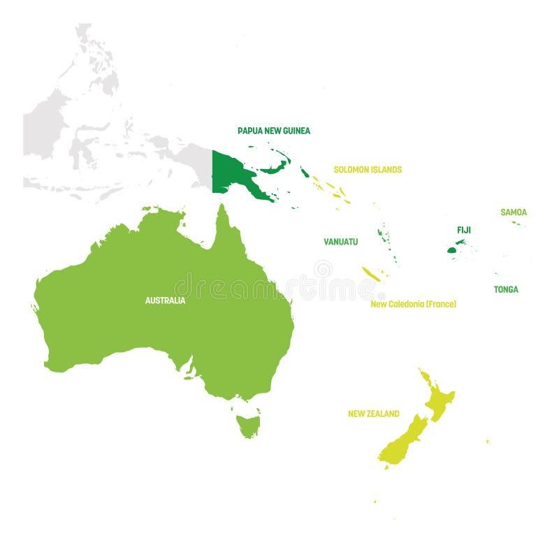 Australien och Oceanien region ?versikt av l?nder i det South Pacific havet ocks? vektor f?r coreldrawillustration stock illustrationer