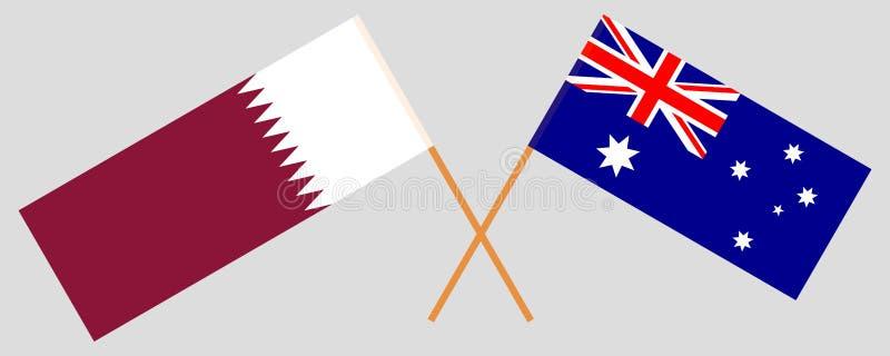 Australien och Qatar De australier- och Qatari flaggorna Officiella f?rger Korrigera proportionen vektor royaltyfri illustrationer