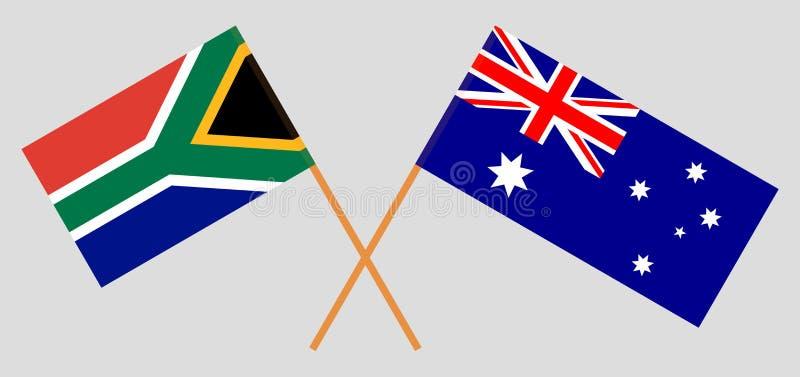 Australien och RSA Det australiskt och söderna - afrikanska flaggor Officiella f?rger Korrigera proportionen vektor vektor illustrationer