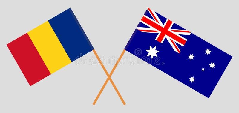 Australien och Rumänien De australiska och rumänska flaggorna Officiella f?rger Korrigera proportionen vektor royaltyfri illustrationer