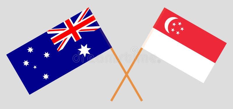 Australien och Singapore De australiska och singaporianska flaggorna Officiella f?rger Korrigera proportionen vektor stock illustrationer