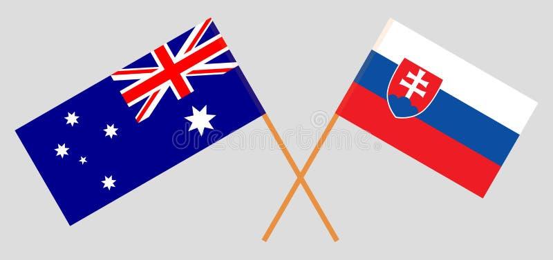 Australien och Slovakien De australiska och slovakiska flaggorna Officiella f?rger Korrigera proportionen vektor royaltyfri illustrationer