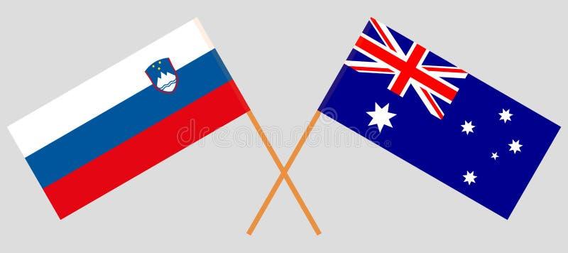 Australien och Slovenien De australiska och slovenska flaggorna Officiella f?rger Korrigera proportionen vektor vektor illustrationer