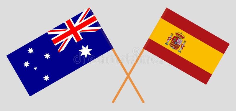 Australien och Spanien De australiska och spanska flaggorna Officiella f?rger Korrigera proportionen vektor stock illustrationer