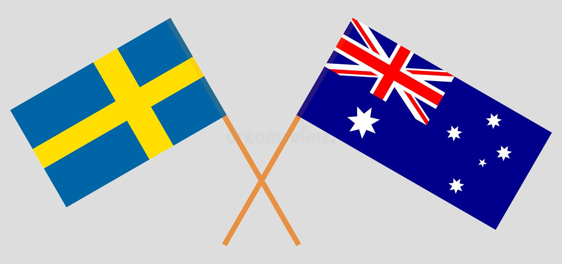Australien och Sverige De australiska och svenska flaggorna Officiella f?rger Korrigera proportionen vektor stock illustrationer