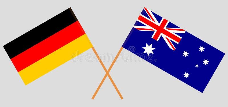 Australien och Tyskland De australiska och tyska flaggorna Officiella f?rger Korrigera proportionen vektor vektor illustrationer