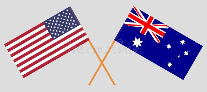 Australien och USA Australier- och Amerikas förenta staterflaggorna Officiella f?rger Korrigera proportionen vektor royaltyfri illustrationer