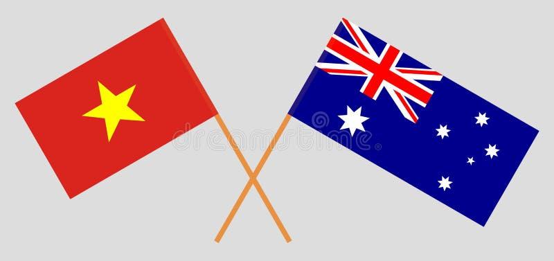 Australien och Vietnam De australiska och vietnamesiska flaggorna Officiella f?rger Korrigera proportionen vektor stock illustrationer