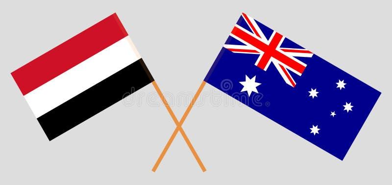 Australien och Yemen De australiska och jemenitiska flaggorna Officiella f?rger Korrigera proportionen vektor stock illustrationer