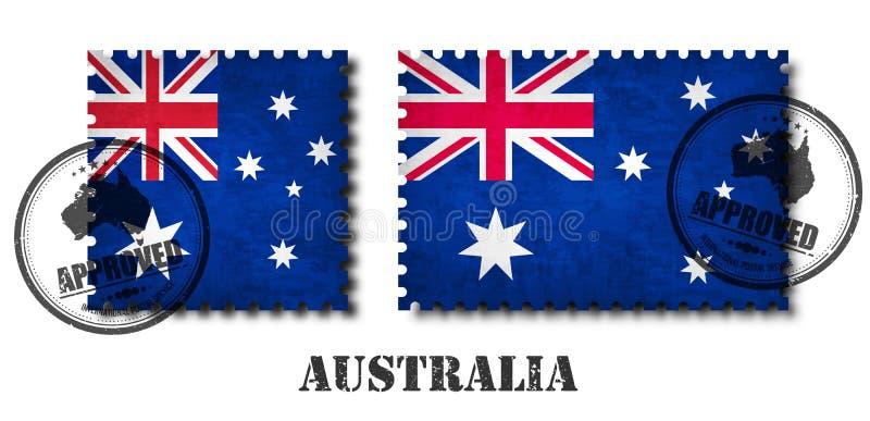 Australien oder australische FlaggenmusterBriefmarke mit Kratzerbeschaffenheits- und -affixdichtung des Schmutzes alter auf lokal stock abbildung
