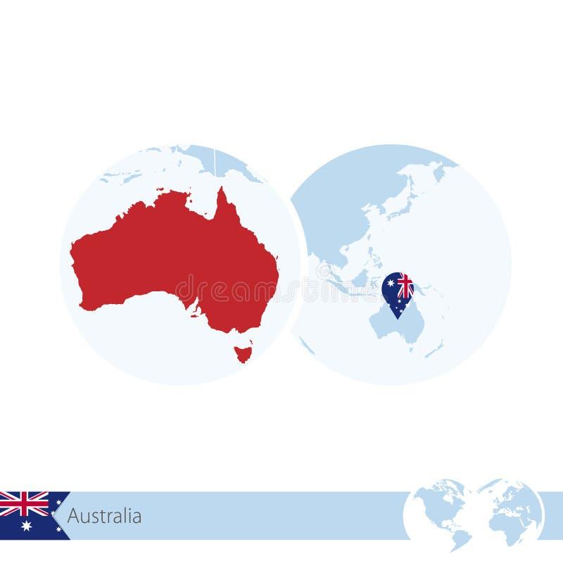 Australien på världsjordklotet med flaggan och den regionala översikten av Australien royaltyfri illustrationer