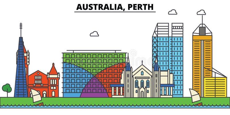 Australien, Perth Stadtskylinearchitektur editable lizenzfreie abbildung
