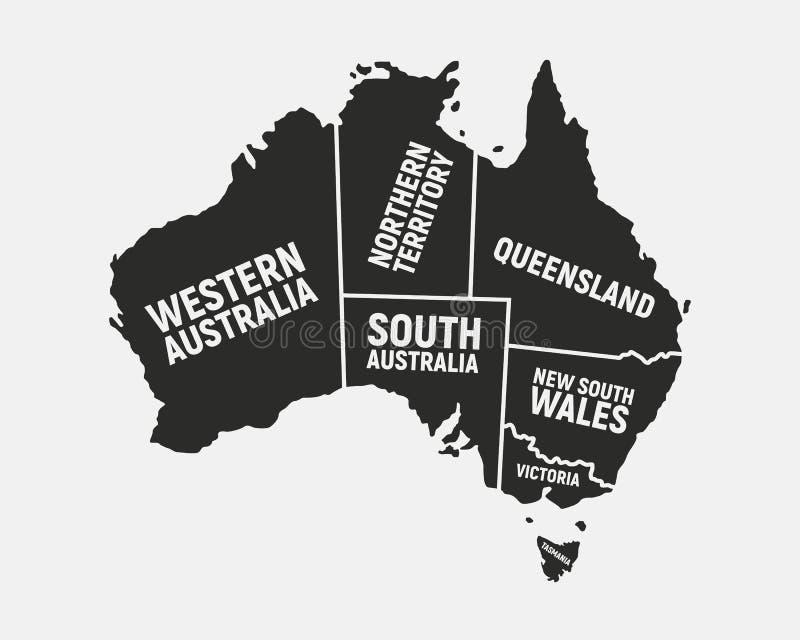 Australien-Plakatkarte mit Zustandsnamen Australischer Hintergrund Karte von Australien Druck f?r T-Shirt, Typografie Vektor illu lizenzfreie abbildung