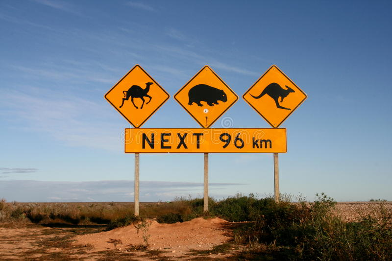 Australien Roadsigns royaltyfria bilder