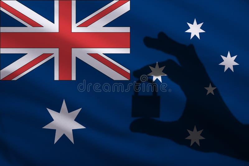 Australien stängde låset i handen Importen och exporten av gods från världsmarknaden av handel förbjudas Stängda gränser royaltyfri illustrationer