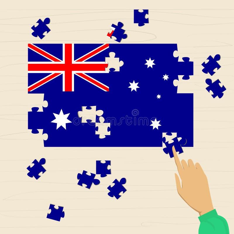 Australien-Staatsflagge-Puzzlespiel flach lizenzfreie abbildung