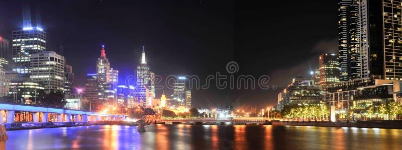 Australien stadsmelbourne natt victoria royaltyfri fotografi