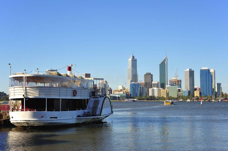 Australien-Stadt der Perth-panoramischen Ansicht stockfoto