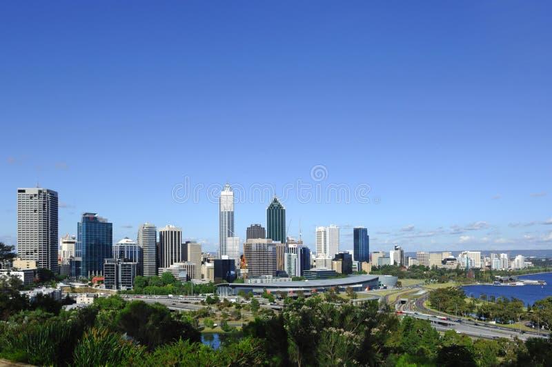 Australien-Stadt der Perth-panoramischen Ansicht lizenzfreies stockfoto