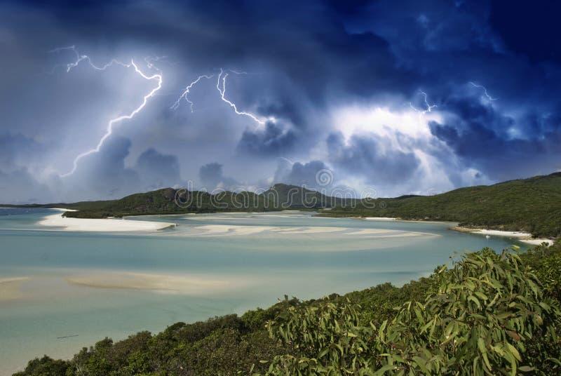 Australien strandfärger whitehaven royaltyfria bilder