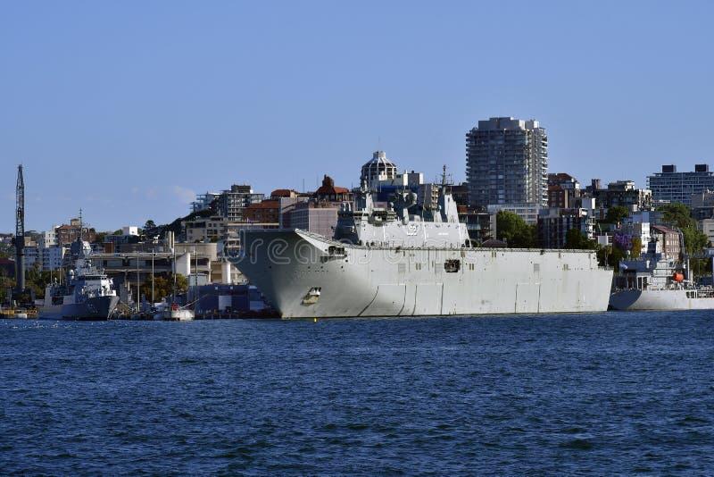 Australien Sydney, krigsskepp arkivfoton
