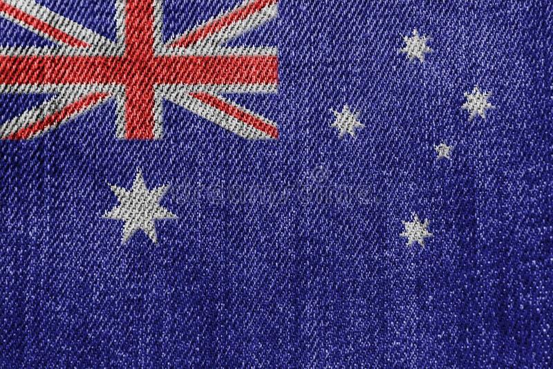 Australien-Textilindustrie oder Politik-Konzept: Australische Flaggen-Denim-Jeans lizenzfreie stockbilder
