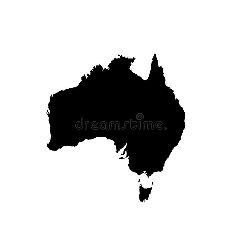 Australien tom översikt Australisk bakgrund Översikten av Australien isolerade på vit bakgrund royaltyfri illustrationer