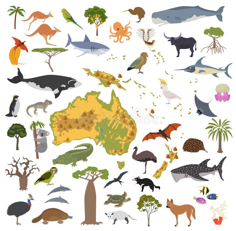 Australien und Ozeanien-Flora und -fauna zeichnen, flache Elemente auf tier vektor abbildung
