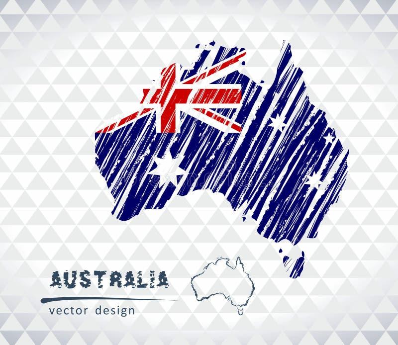 Australien vektoröversikt med flaggainsidan som isoleras på en vit bakgrund Skissa drog illustrationen för krita handen royaltyfri illustrationer