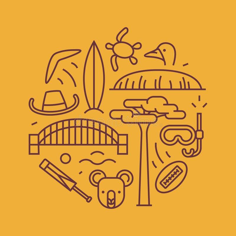 Australien vektoröversiktsillustration, modell bumerang hatt, livegen, bro, syrsa, koala, trädBaobab, sport, berg Uluru royaltyfri illustrationer