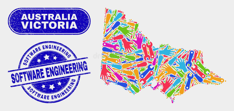 Australien Victoria Map d'Assemblée et filigranes grunges de technologie de la programmation illustration libre de droits
