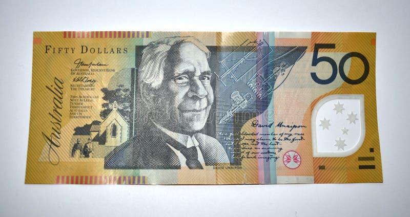 australiensisk anmärkning för dollar femtio arkivfoton