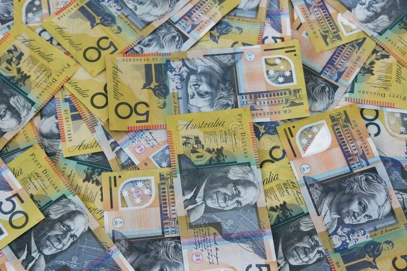 australiensisk dollar femtio överhopar anmärkningar royaltyfria foton