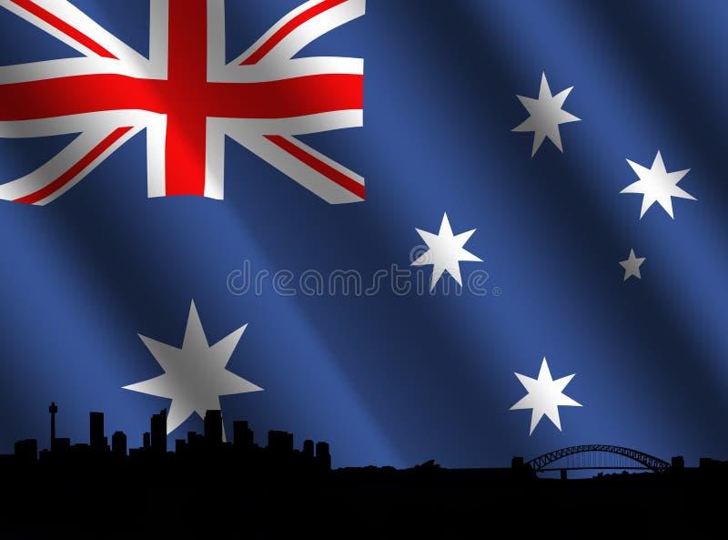 australiensisk flaggahorisont sydney vektor illustrationer