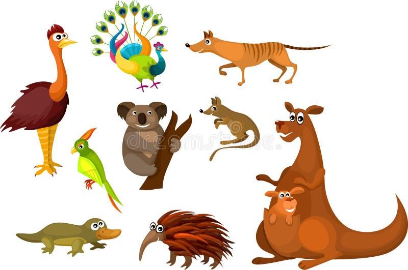 australiensiska djur royaltyfri illustrationer