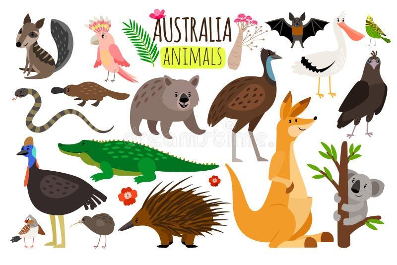 australiensiska djur Djura symboler för vektor av den Australien, känguru- och koala-, vombat- och strutsemu royaltyfri illustrationer