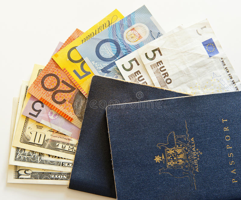 Australiensiska pass och loppvaluta arkivfoto