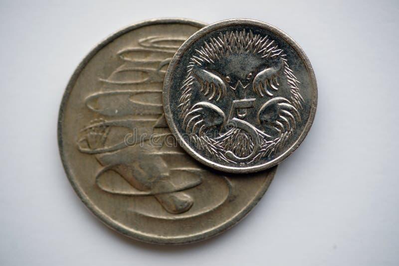 Australier prägt 20 und 5 Cents stockfotos