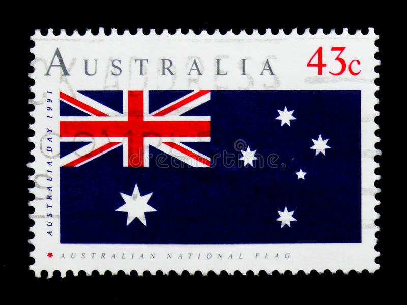 Australijczyk flaga, Australia dnia 1991 seria około 1991, zdjęcia royalty free